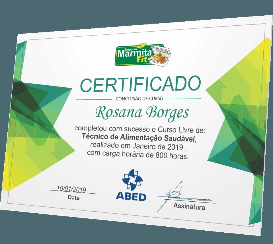 Certificado do curso Negócio Marmita Fit