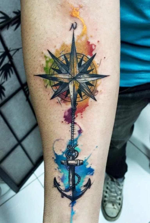Tatuagem marítima aquarela