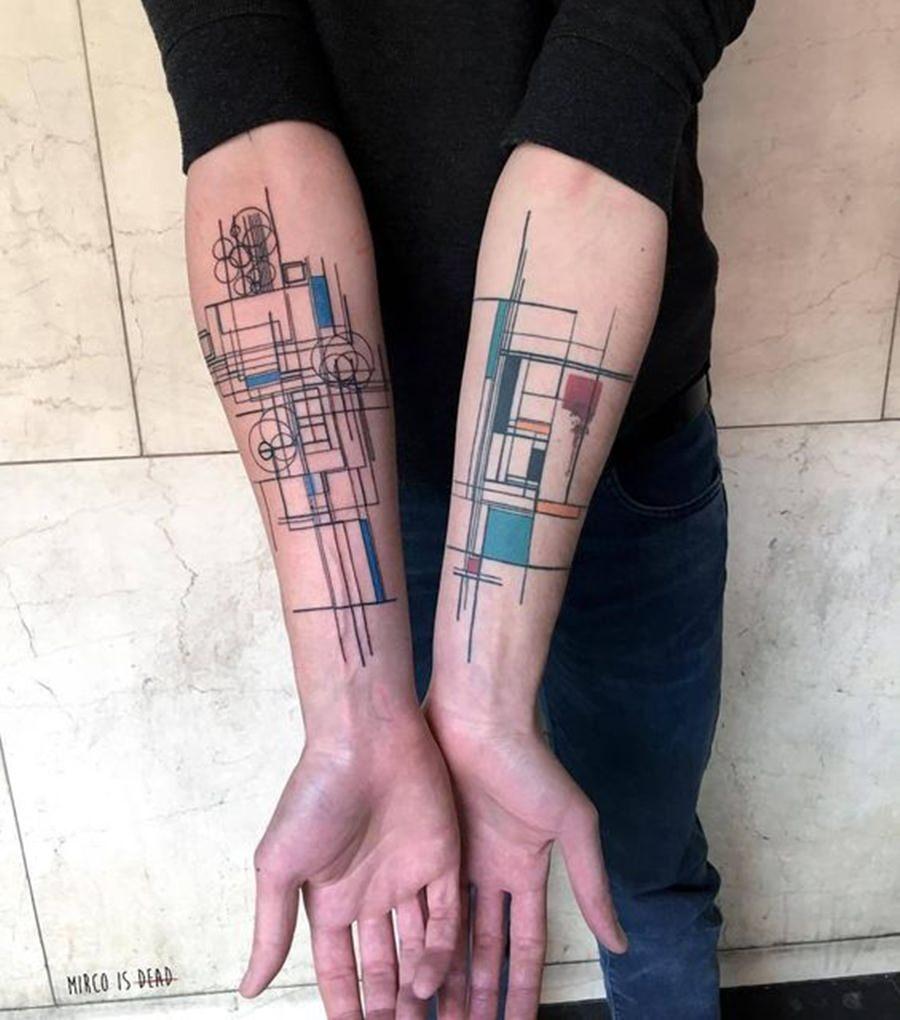 Tatuagem geométrica colorida