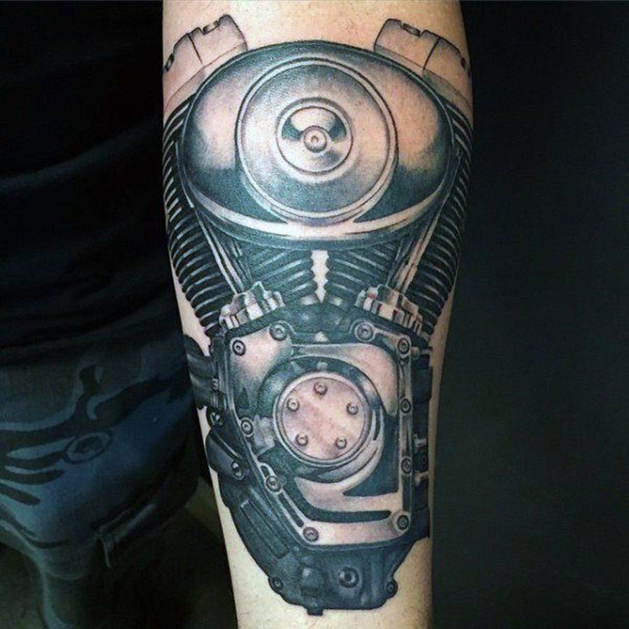 Tatuagem de motor de uma motocicleta